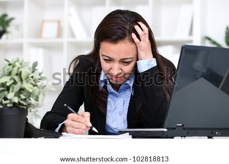 worried businesswoman have problem