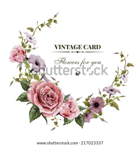 Greeting Card Roses Watercolor Can Be Vector 276671453 – Greeting Card Invitation