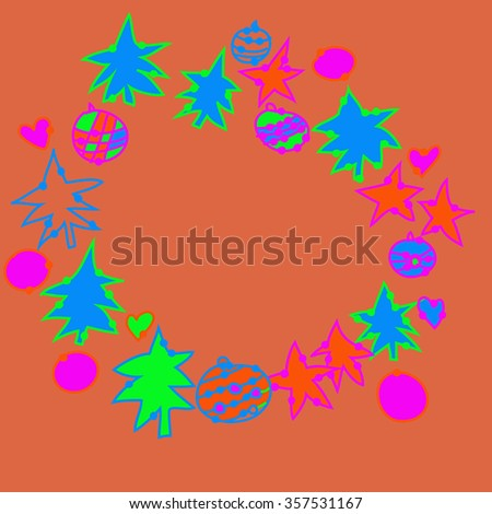 Wreath with  Christmas motifs, stars, balls, spruce,pattern. Hand drawn.