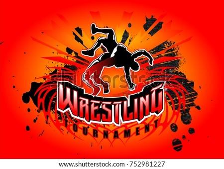 usa wrestling emblem gymnastics logo design vector template sport stock vector