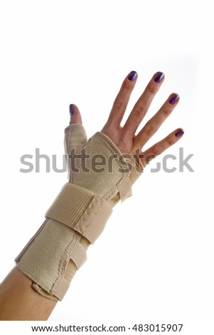 hand wrist support brace stock photo 51485221 shutterstock. Black Bedroom Furniture Sets. Home Design Ideas