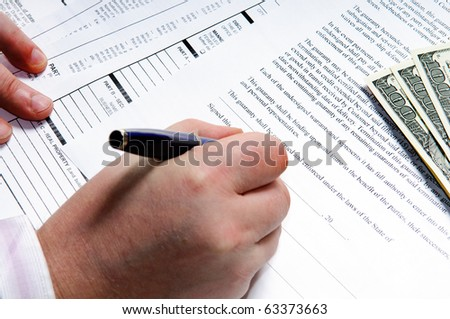 writing on a  finance form