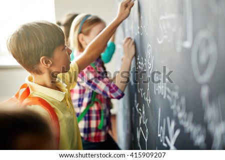 Writing on blackboard