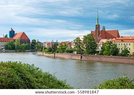 wroclaw cathedral, old polish city. Eastern Europe