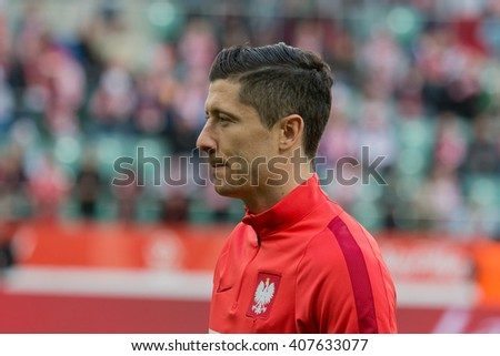 WROCLAW, POLAND - MARCH 26, 2016: Robert Lewandowski (Poland) before the friendly football match between Poland and Finnland at the Municipal Stadium in Wroclaw.