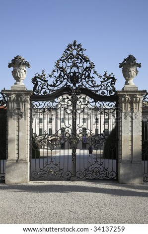 Wrought Iron Gate Old Castle Closed Stock Photo 34137259