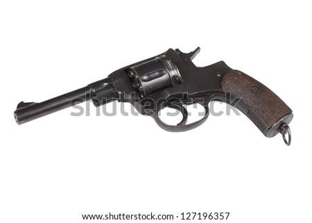 ww2 revolver gun isolated on a white background