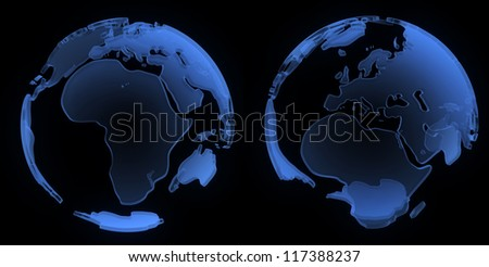 X ray globe, Europe and Africa, isolated on black