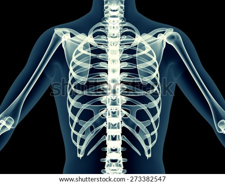 X-ray human body of a man with skeleton isolated on black.