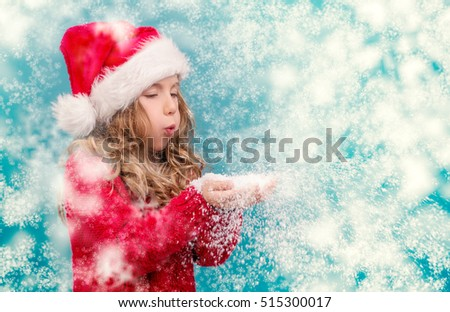 xmas snow blowing little girl