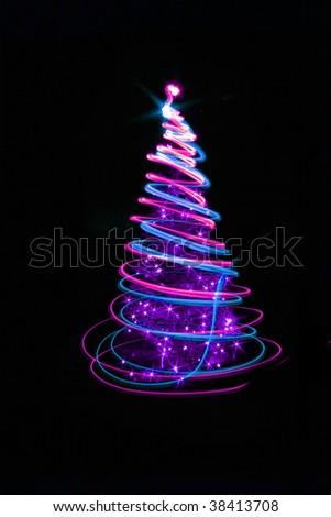 xmas tree lights on the black background - Purple Christmas Tree Lights