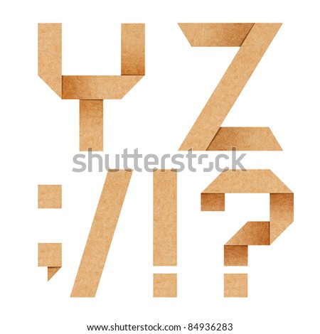 Y,Z Origami alphabet letters from recycled paper with clipping p