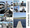 Yacht dealer collage. Made of nine photos. - stock photo