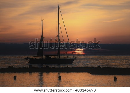 Yacht in the early morning on the French Riviera