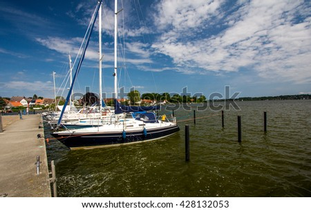 yachts in the port. city Schleswig. Germany