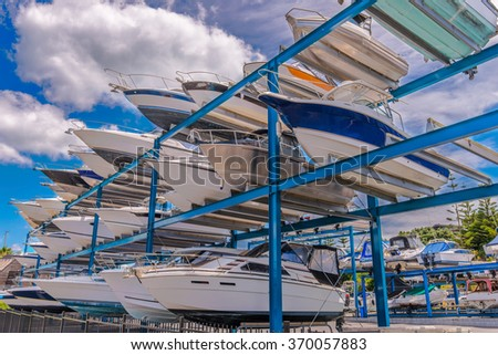 Yachts stored up in shelves waiting for maintenance