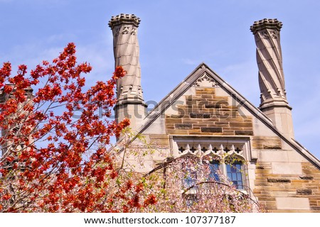 Yale University Sterling Law Building Ornate Victorian Towers Red Leaves New Haven Connecticut