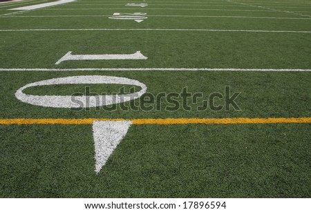 Yard lines carrying off on the field