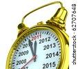 year calendar on alarm clock. Isolated 3D image - stock vector