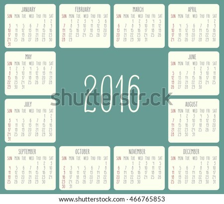 Year 2016 monthly calendar. Week starting from Sunday. Beige rounded rectangle over green background.