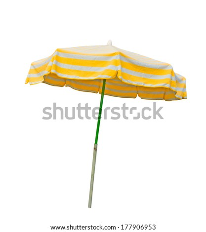 Yellow and gray striped beach umbrella isolated on white with clipping path