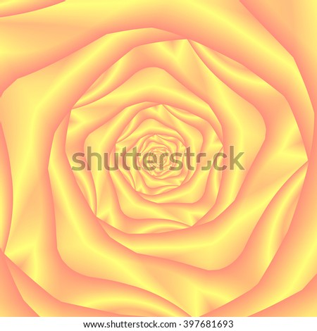 Yellow and Pink Spiral Rose / An abstract fractal image with a rose spiral design in yellow and pink.
