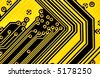 Yellow circuit board macro, may be used as background - stock photo