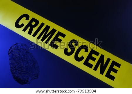 Yellow crime scene tape on blue background with fingerprint