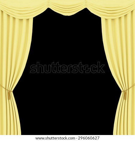 Yellow Curtains On A Black Background