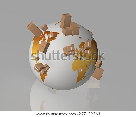 yellow earth and boxes on it - cardboard boxes around the world - international delivery - merchandise