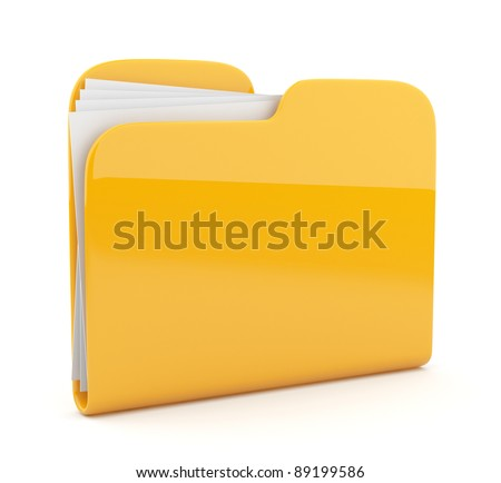 Yellow folder. File 3D.  Icon isolated on white background