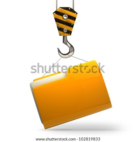 Yellow folder with Crane hook isolated on white background High resolution 3d