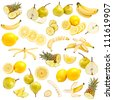 Yellow food collection isolated on white background - stock photo