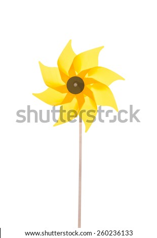 Yellow garden windmill isolated over white background.