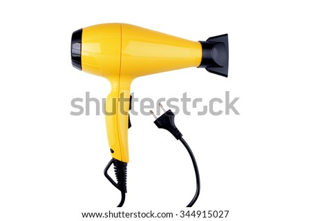yellow  hairdryer on white background