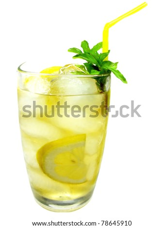 yellow lemonade drink with ice and mint