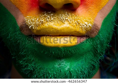 yellow lips man green beard