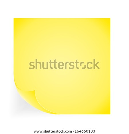 Yellow note paper on the white background. Vector illustration.