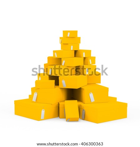 Yellow Orange gift boxes with price tag blank isolated on white background. 3D Rendering, 3D Illustration.