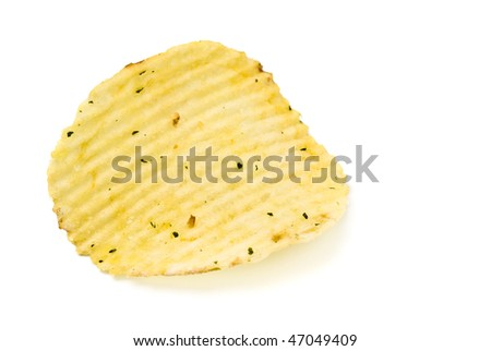 yellow potato chips closeup isolated on white background