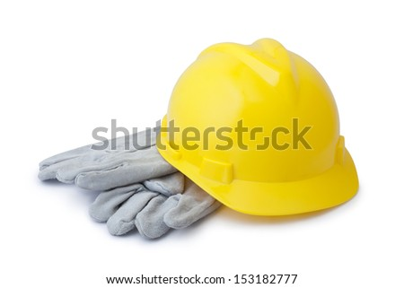 Yellow safety helmet and gloves