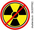 Yellow sign against radiation on white background. - stock photo