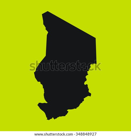 Yellow Silhouette of the Country Chad
