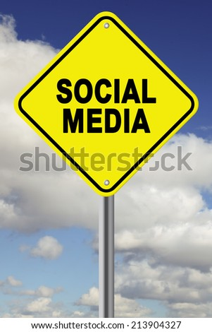 Yellow Social Media cautionary road sign