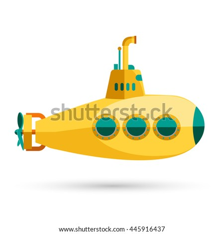 yellow submarine diving depths sea sixties stock vector