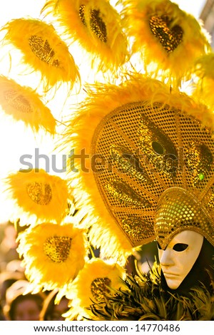 Yellow Sun Mask in Venice, Carnival 2008.