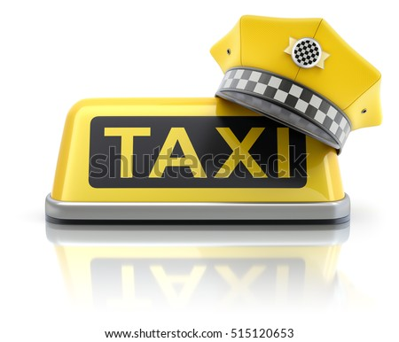 Yellow taxi driver cap on taxi car roof sign - 3D illustration