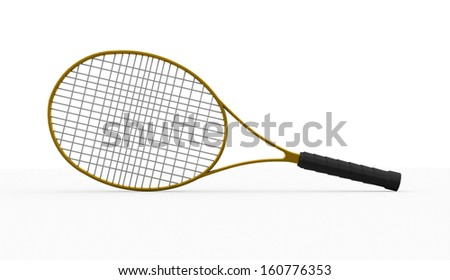 Yellow tennis racket rendered isolated on white