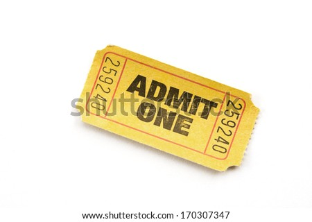 Yellow ticket on white background.
