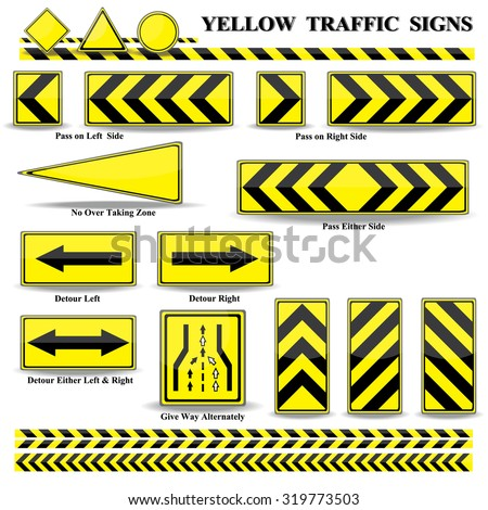 yellow traffic square shaped ending left stock